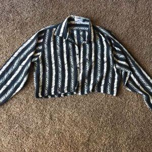 Button Up Crop Blouse